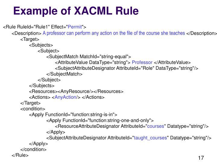 Example of XACML Rule