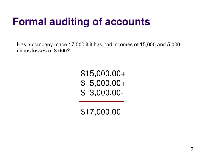 Formal auditing of accounts