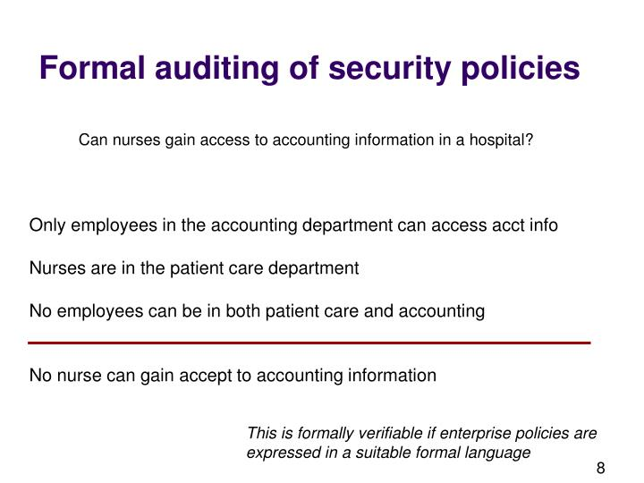 Formal auditing of security policies