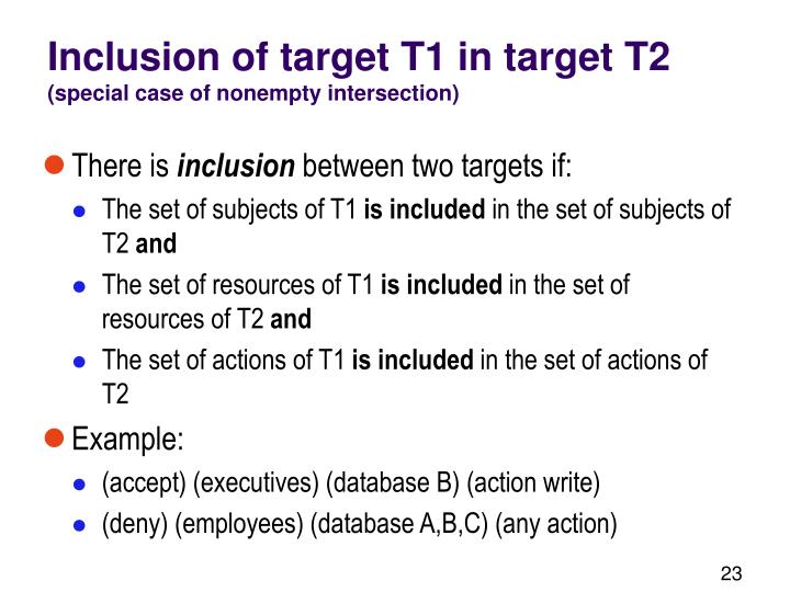 Inclusion of target T1 in target T2