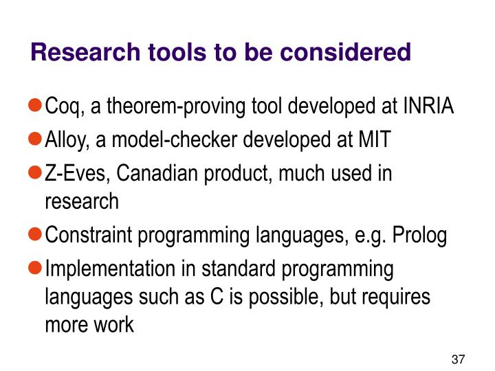 Research tools to be considered
