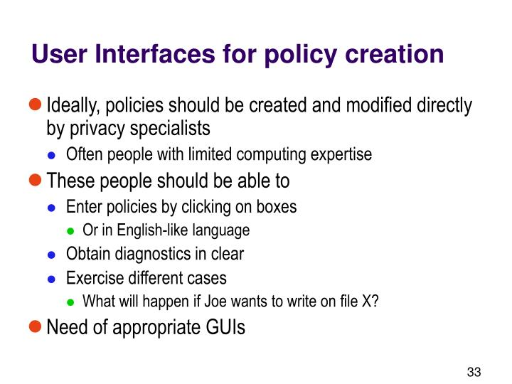 User Interfaces for policy creation