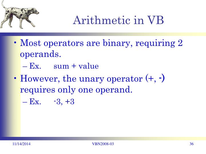 Arithmetic in VB
