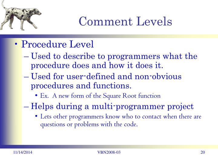 Comment Levels