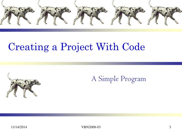 Creating a project with code