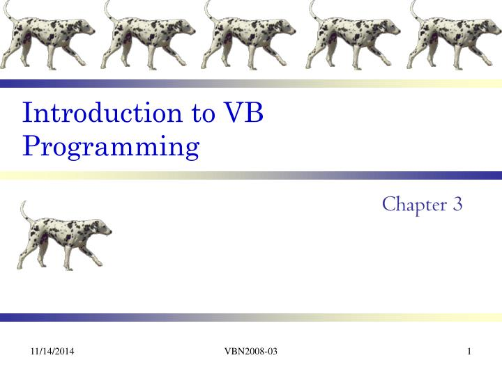 Introduction to vb programming