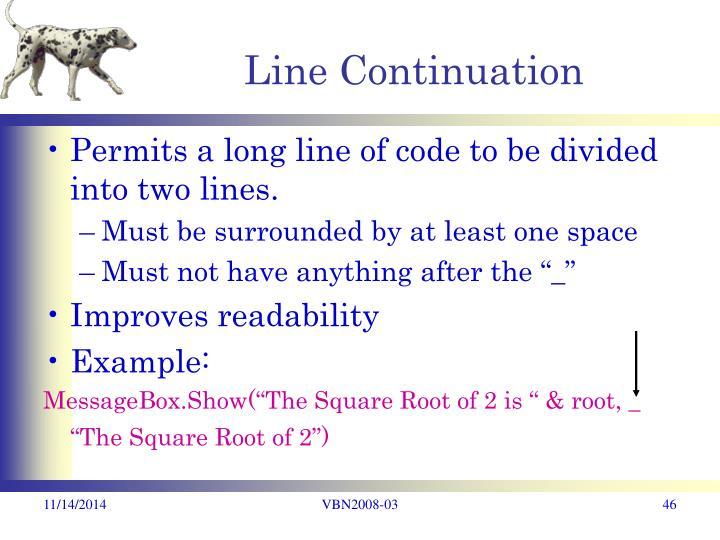 Line Continuation