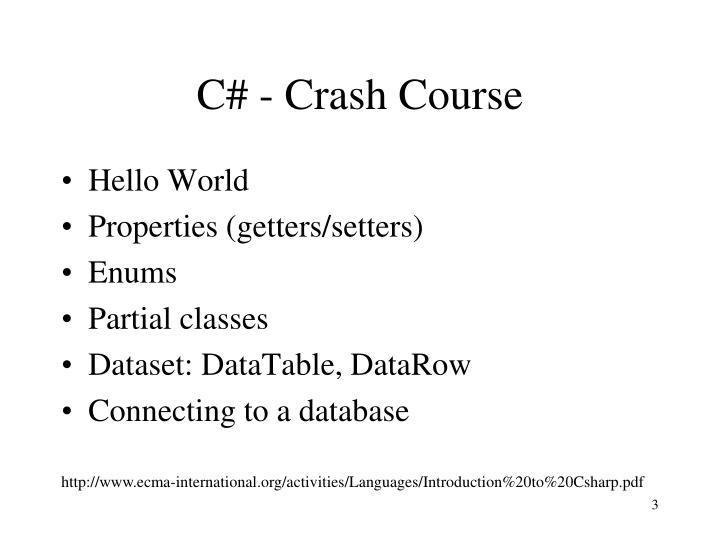 C# - Crash Course
