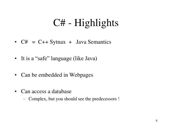 C# - Highlights