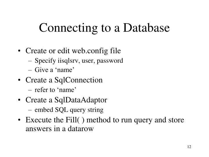 Connecting to a Database