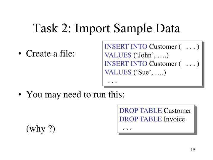 Task 2: Import Sample Data