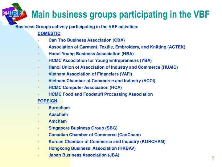 Main business groups participating in the VBF