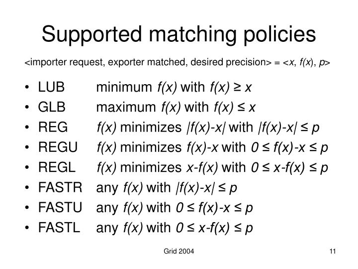 Supported matching policies