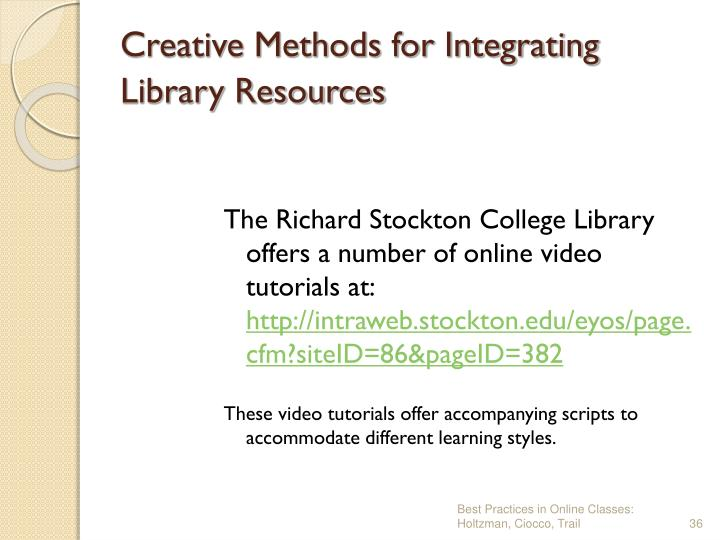 Creative Methods for Integrating Library Resources