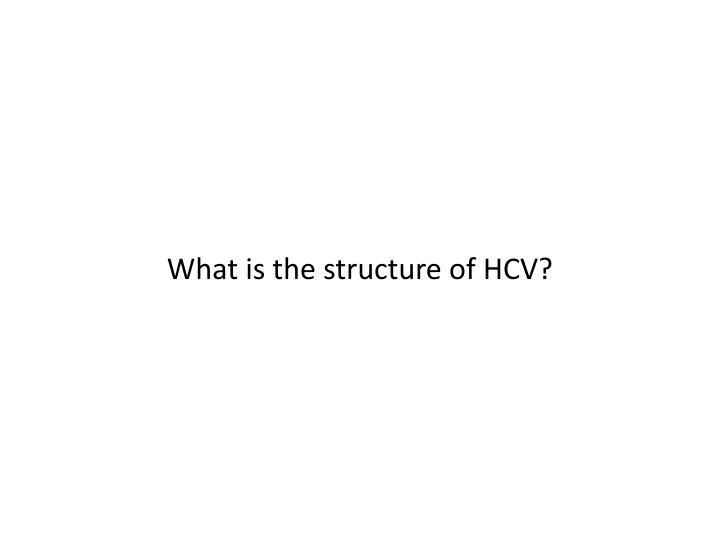 What is the structure of HCV?