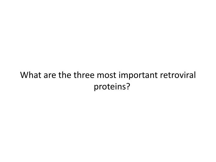 What are the three most important retroviral proteins?