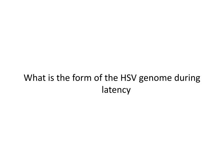 What is the form of the HSV genome during latency