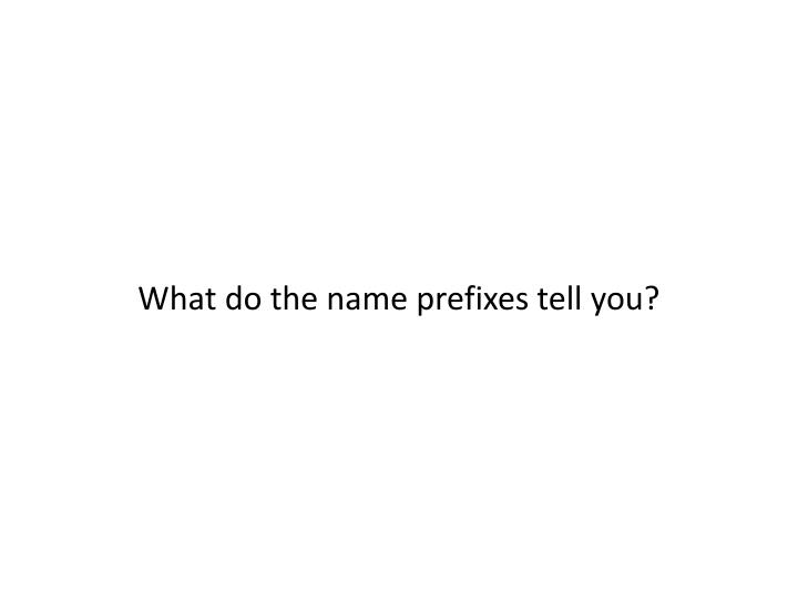 What do the name prefixes tell you?