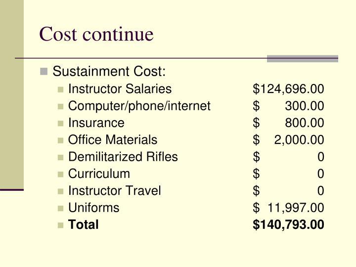 Cost continue