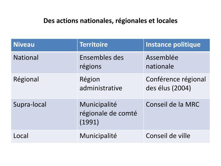 Des actions nationales, régionales et