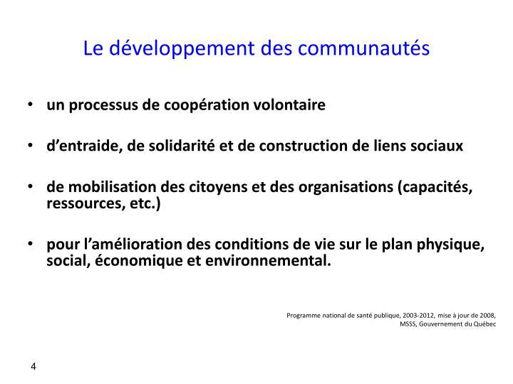 Le développement des communautés