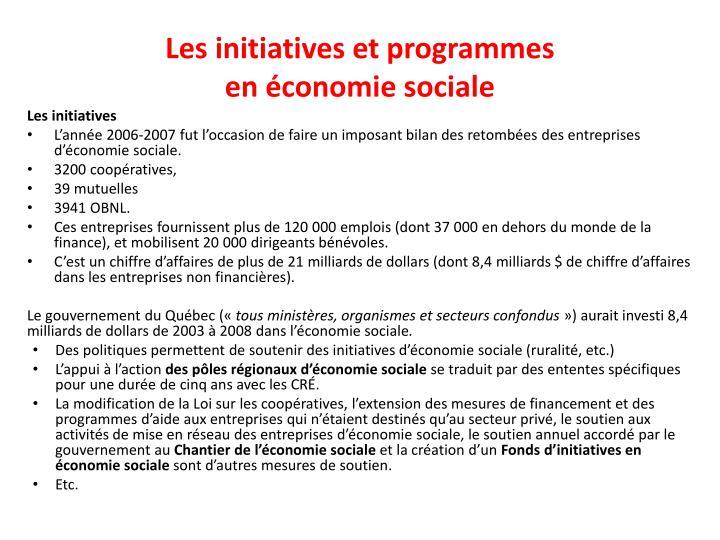 Les initiatives et programmes