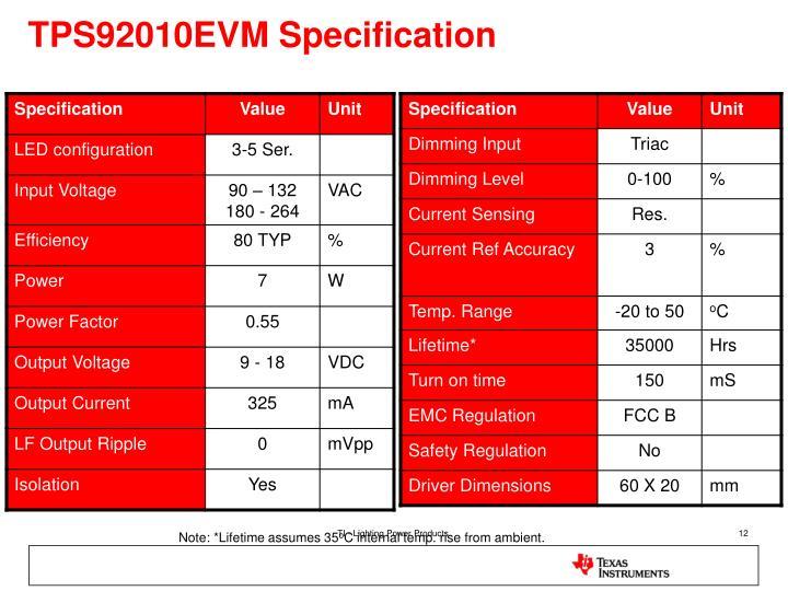 TPS92010EVM Specification