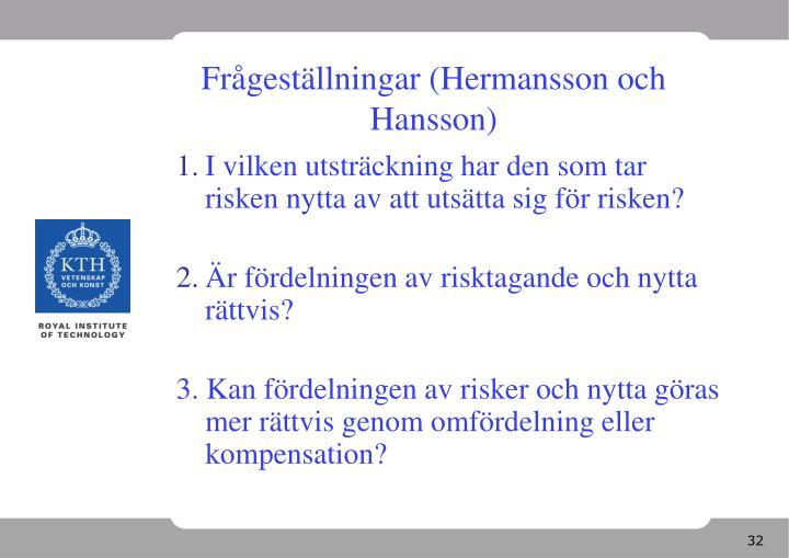 Frågeställningar (Hermansson och Hansson)