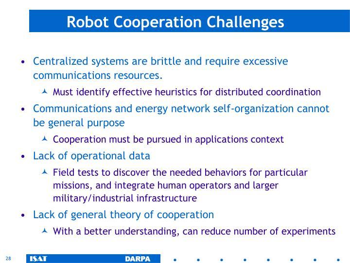 Robot Cooperation Challenges