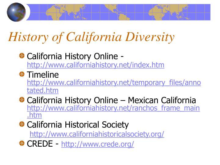 History of California Diversity