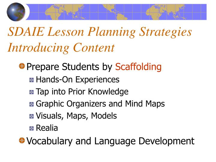 SDAIE Lesson Planning Strategies