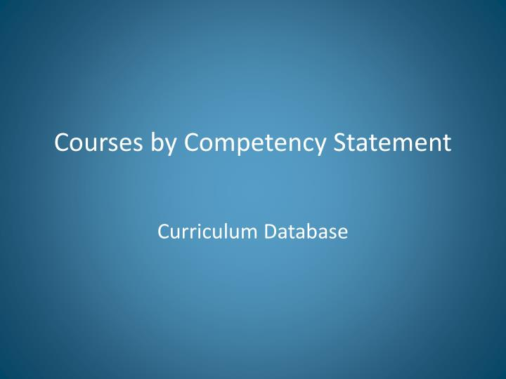 Courses by Competency Statement