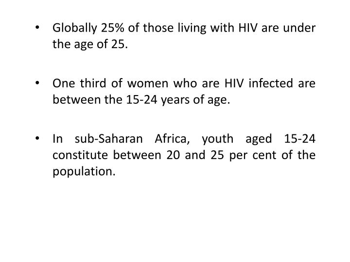 Globally 25% of those living with HIV are under the age of 25.