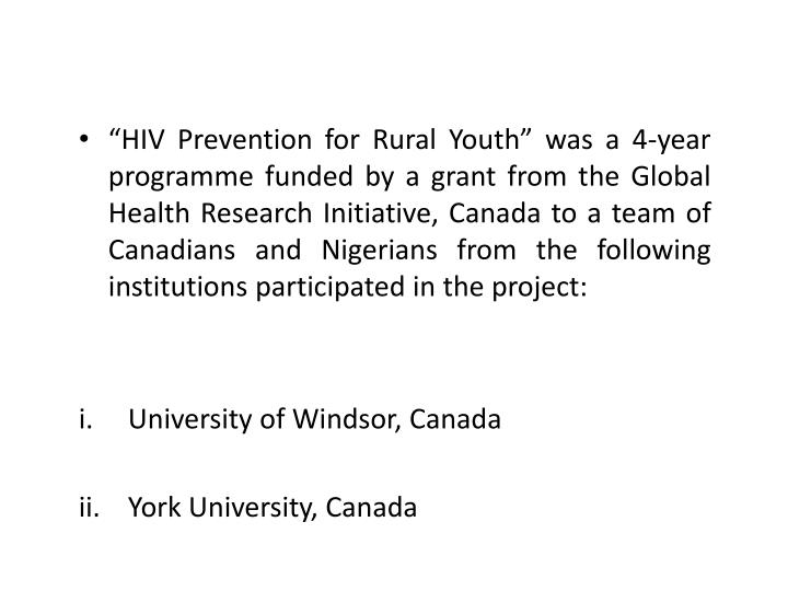 """""""HIV Prevention for Rural Youth"""" was a 4-year"""