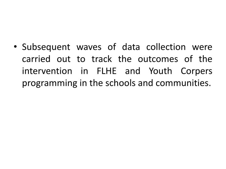 Subsequent waves of data collection were carried out to track the outcomes of the intervention in FLHE and Youth Corpers programming in the schools and communities.
