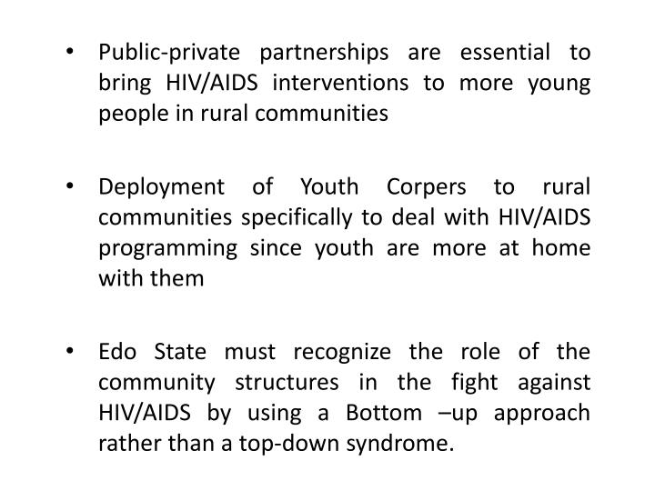 Public-private partnerships are essential to bring HIV/AIDS interventions to more young people in rural communities