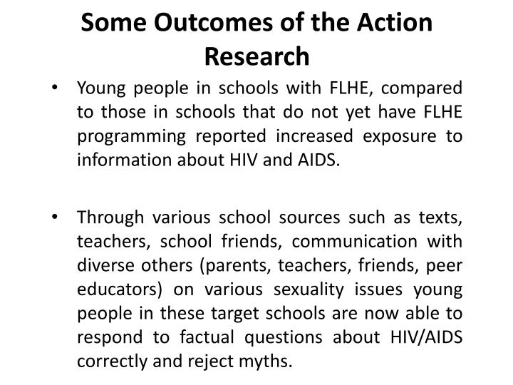 Some Outcomes of the Action Research