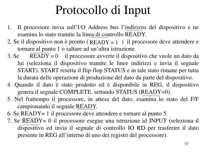 Protocollo di Input