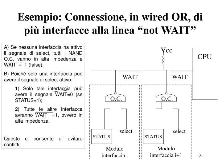 """Esempio: Connessione, in wired OR, di più interfacce alla linea """"not WAIT"""""""