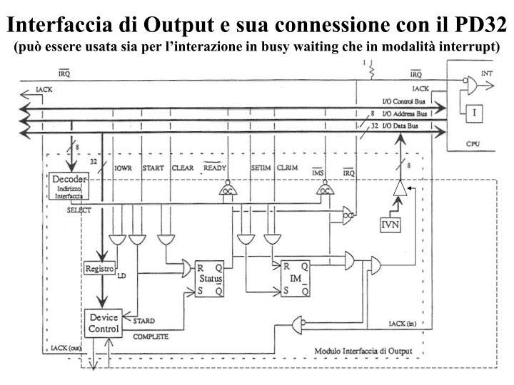 Interfaccia di Output e sua connessione con il PD32