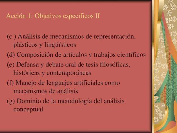 Acción 1: Objetivos específicos II