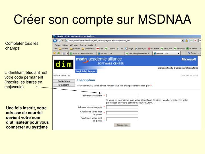 Créer son compte sur MSDNAA