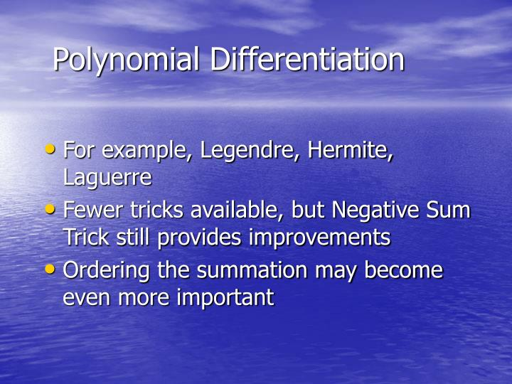 Polynomial Differentiation