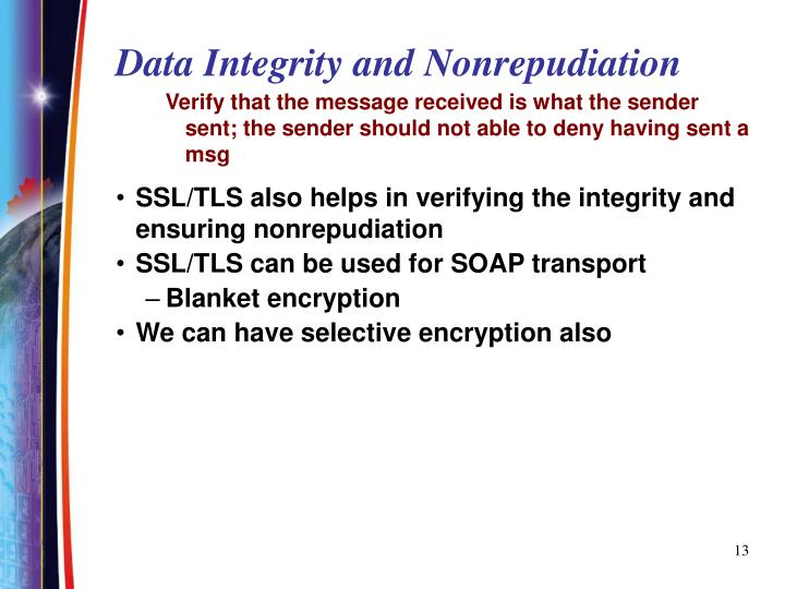 Data Integrity and Nonrepudiation