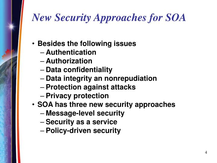 New Security Approaches for SOA