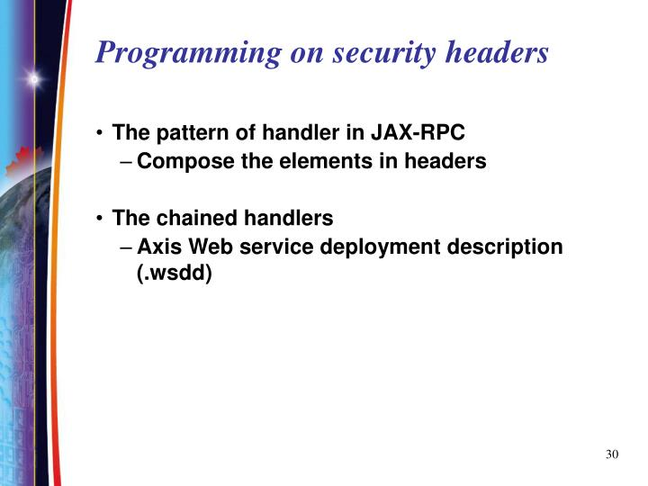Programming on security headers