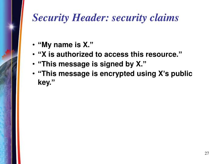 Security Header: security claims