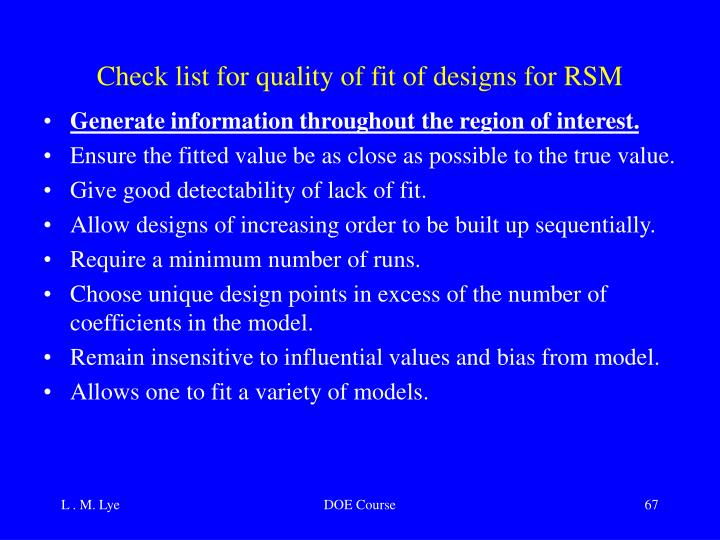 Check list for quality of fit of designs for RSM
