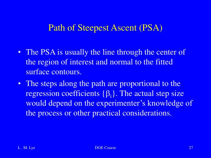 Path of Steepest Ascent (PSA)