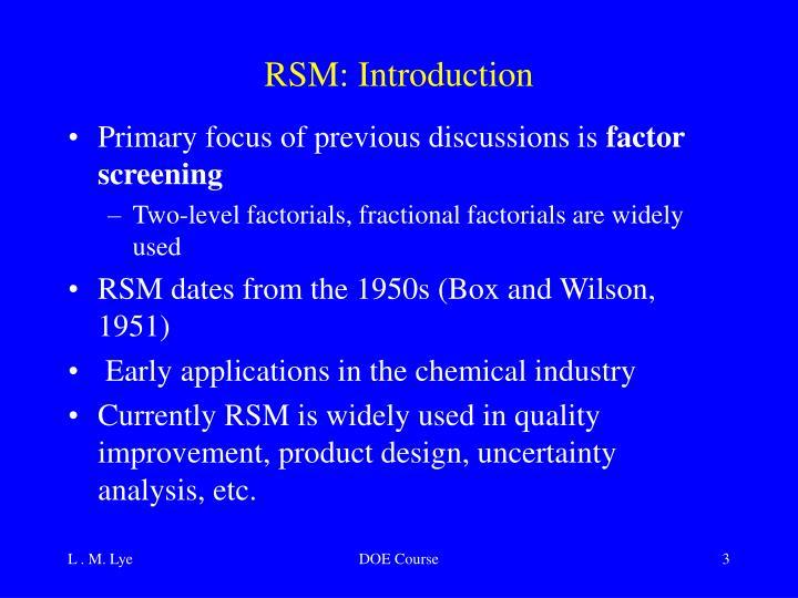RSM: Introduction